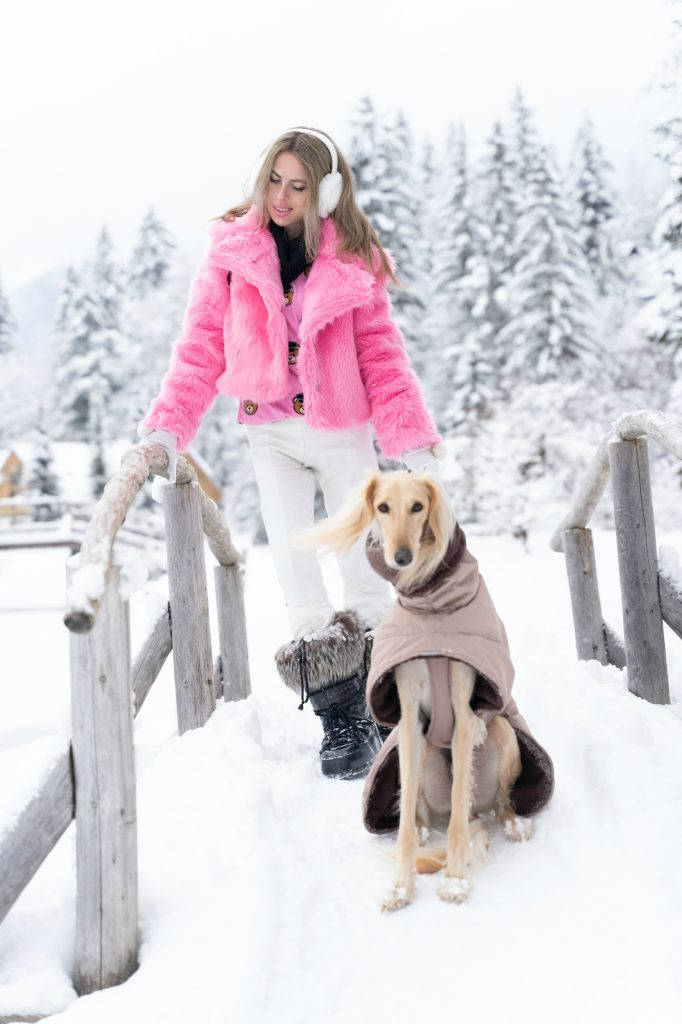 Shein pink faux fur coat winter